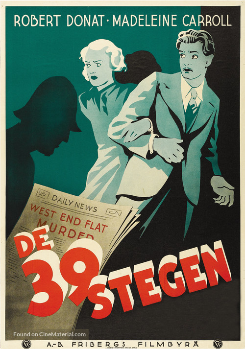 The 39 Steps - Swedish Movie Poster
