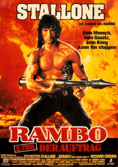 Rambo First Blood Part Ii 1985 German Movie Poster