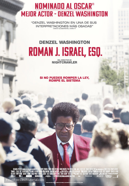 The Movie Roman J Israel >> Roman J Israel, Esq. Spanish movie poster