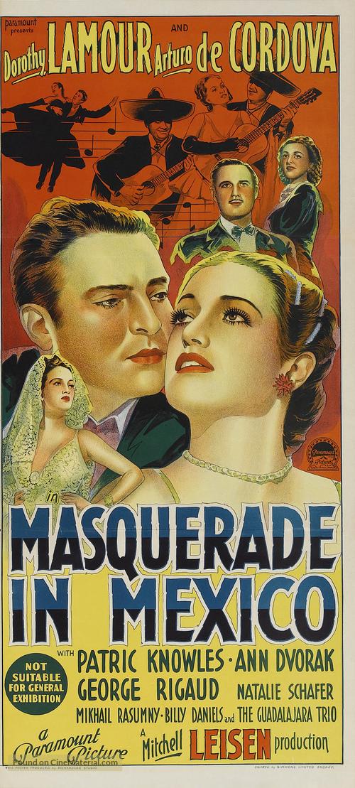 Masquerade in Mexico - Australian Movie Poster