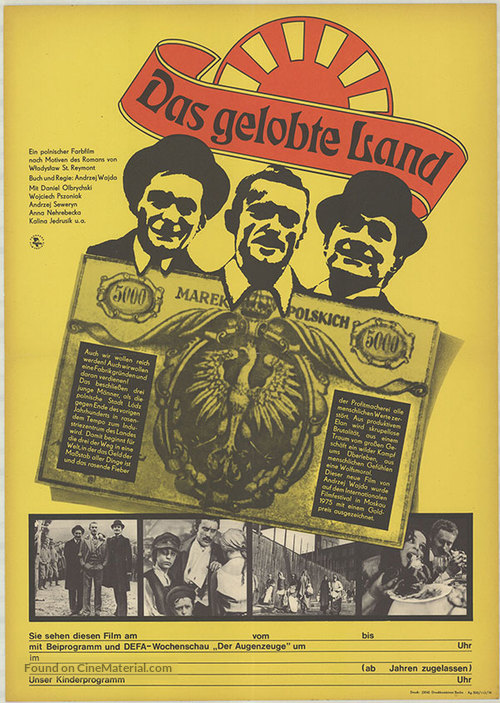 Ziemia obiecana - German Movie Poster