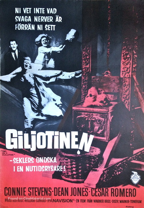 Two on a Guillotine - Swedish Movie Poster