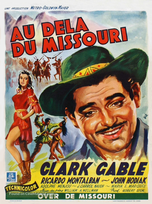 Across the Wide Missouri - Belgian Movie Poster