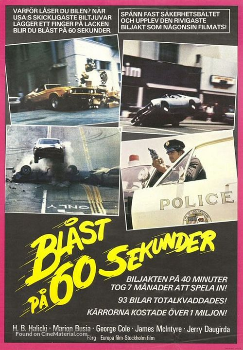 Gone in 60 Seconds - Swedish Movie Poster
