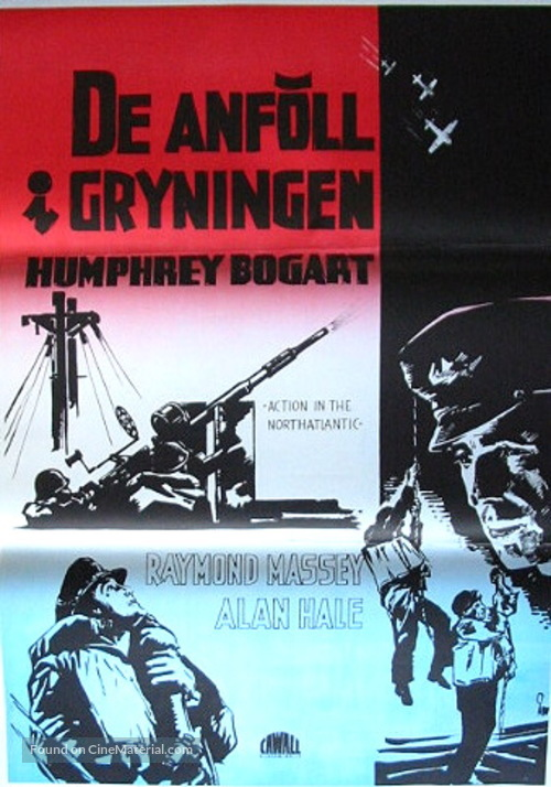 Action in the North Atlantic - Swedish Movie Poster