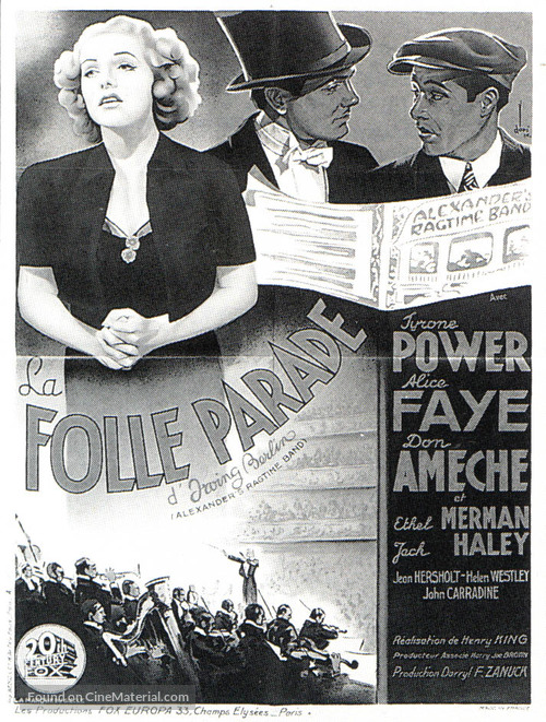 Alexander's Ragtime Band - French Movie Poster