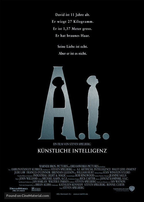 Artificial Intelligence: AI - German Movie Poster