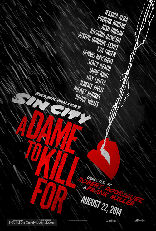 Sin City: A Dame to Kill For - Advance movie poster