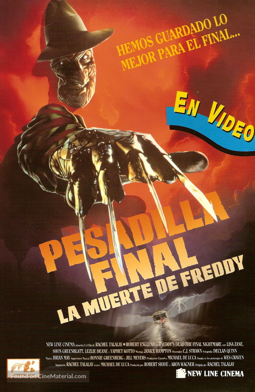 Freddy's Dead: The Final Nightmare - Spanish Video release movie poster