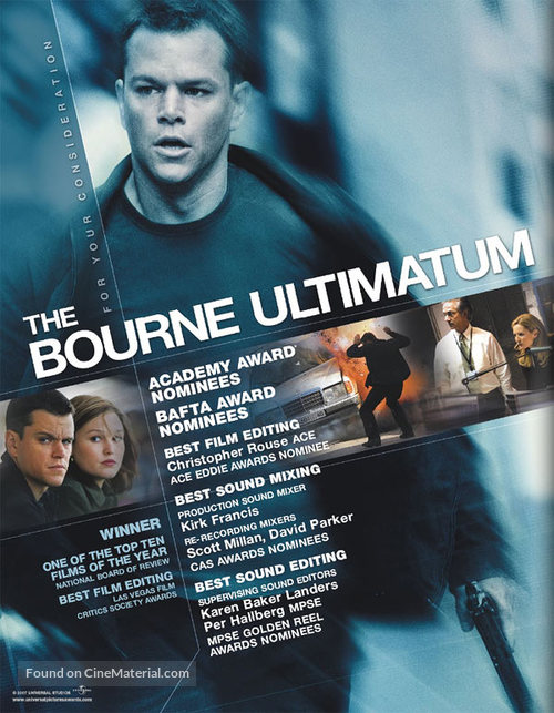 The Bourne Ultimatum 2007 For Your Consideration Movie Poster