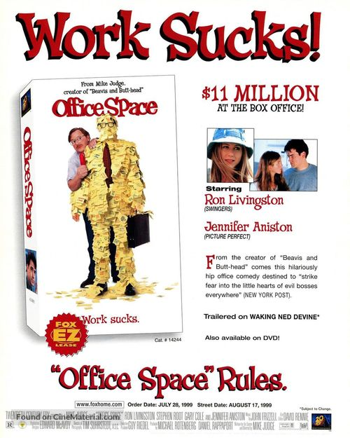 Office Space - Video release movie poster
