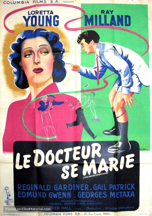 The Doctor Takes a Wife - French Movie Poster