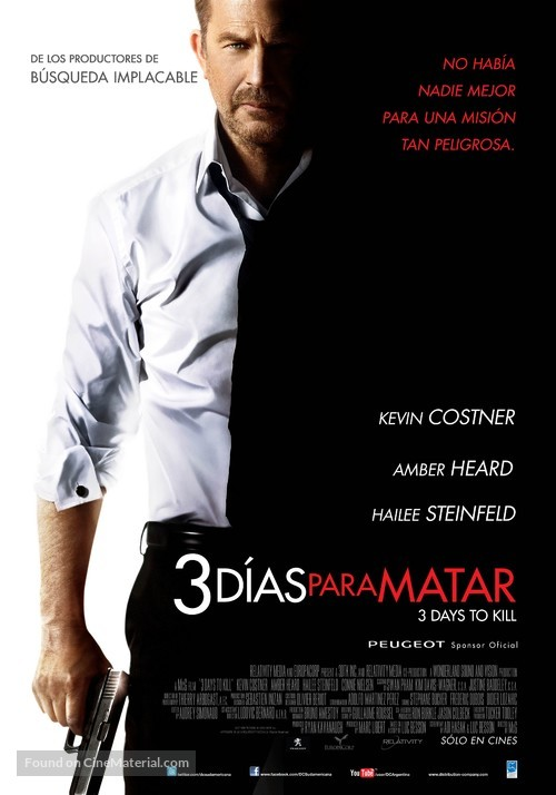 3 Days to Kill - Argentinian Movie Poster