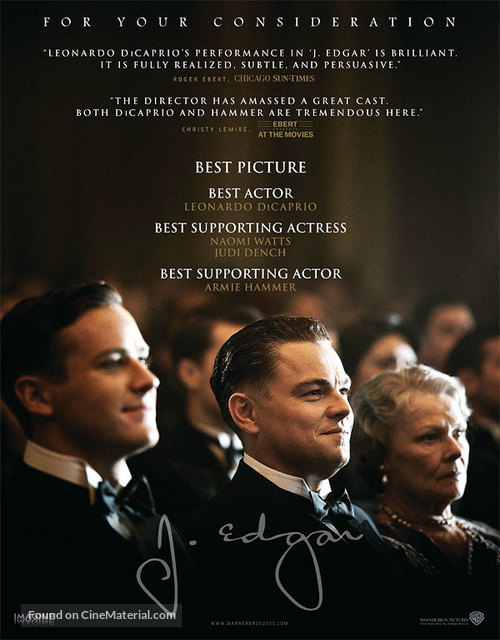 J. Edgar - For your consideration movie poster