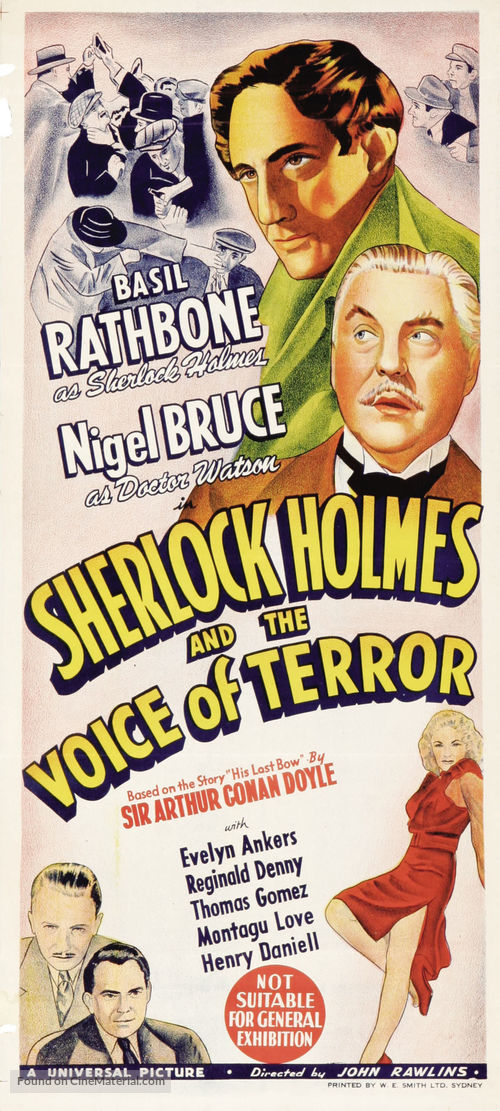 Sherlock Holmes and the Voice of Terror - Australian Movie Poster
