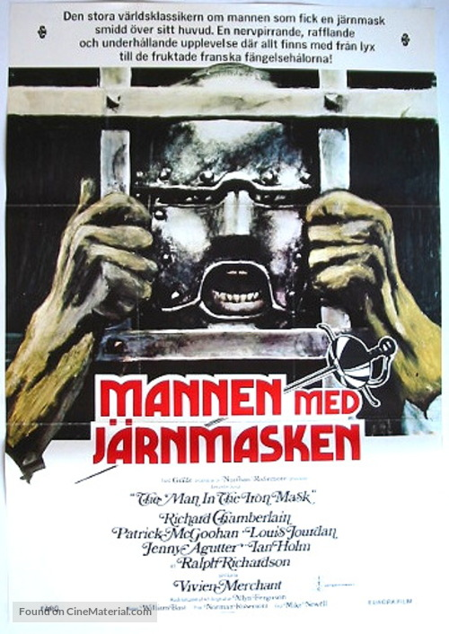 The Man in the Iron Mask - Swedish Movie Poster
