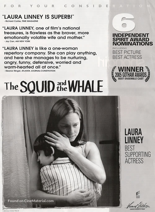 The Squid and the Whale - For your consideration movie poster