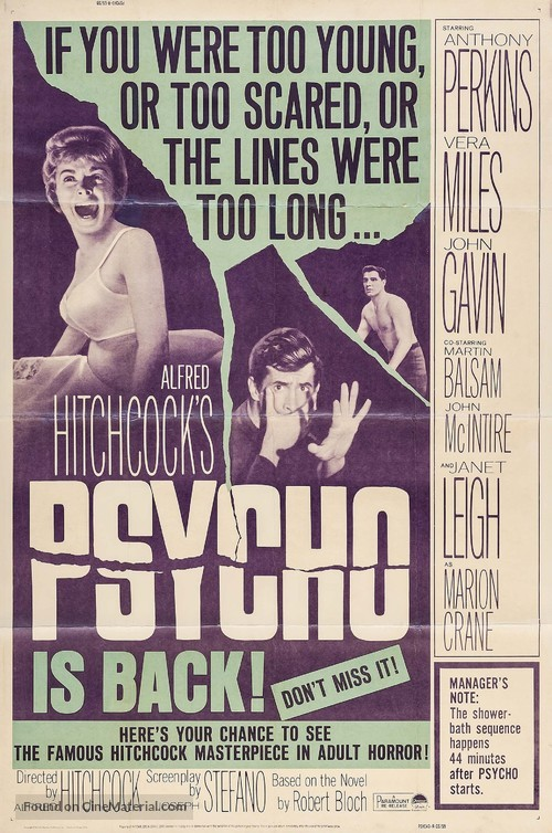 Psycho - Re-release movie poster