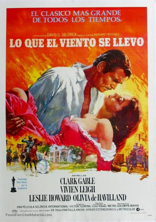 Gone with the Wind - Spanish Movie Poster