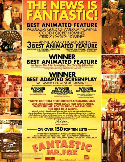 Fantastic Mr Fox 2009 For Your Consideration Movie Poster