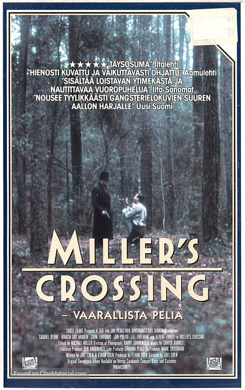 Miller's Crossing - Finnish VHS movie cover