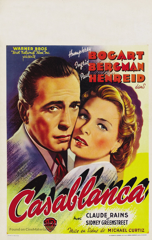 Casablanca - Belgian Movie Poster