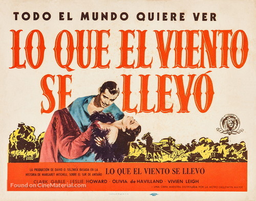 Gone with the Wind - Puerto Rican Re-release movie poster