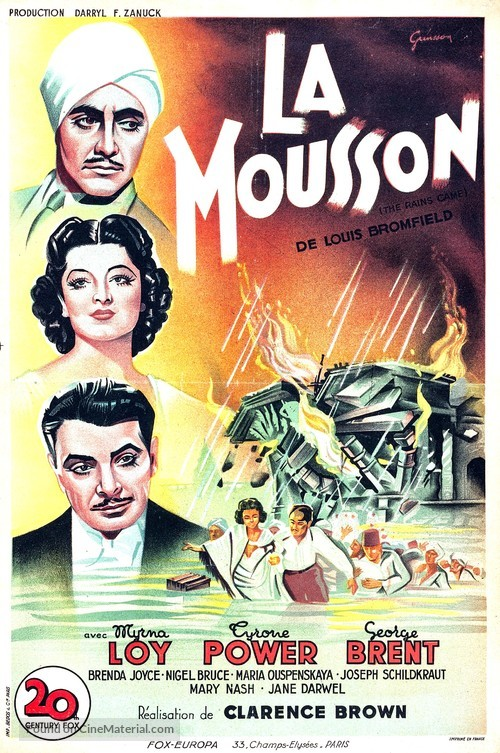 The Rains Came - French Movie Poster