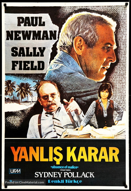 Absence of Malice - Turkish Movie Poster
