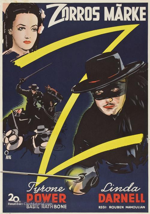 The Mark of Zorro - Swedish Movie Poster
