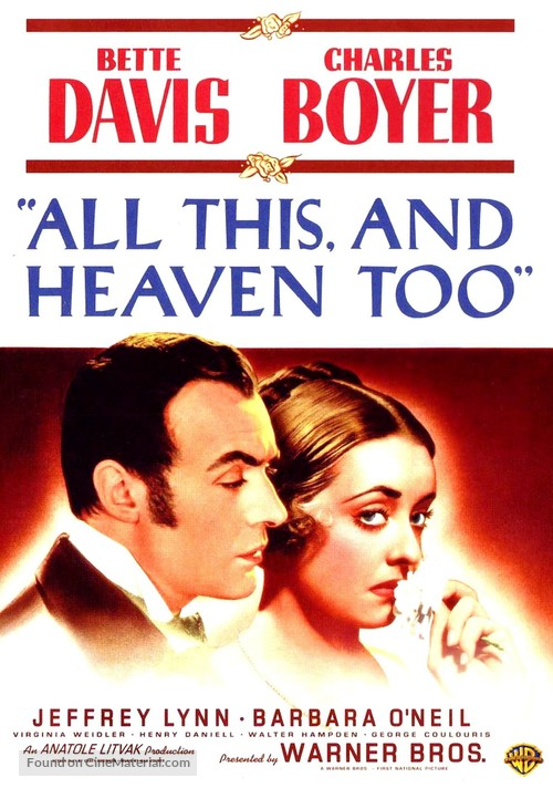 All This, and Heaven Too - DVD movie cover