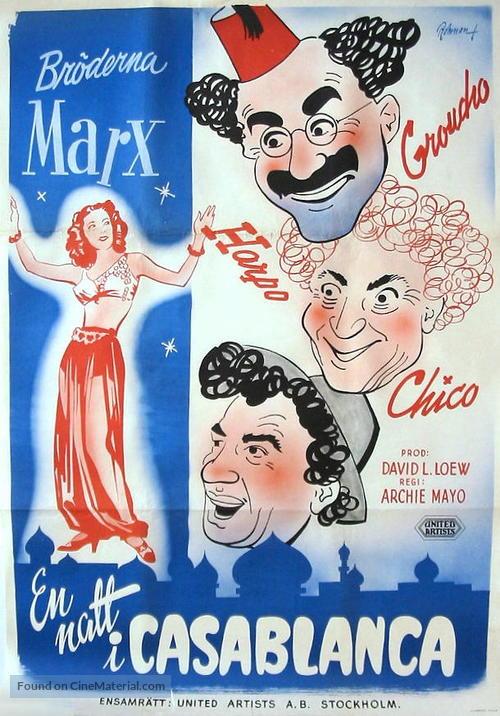 A Night in Casablanca - Swedish Movie Poster