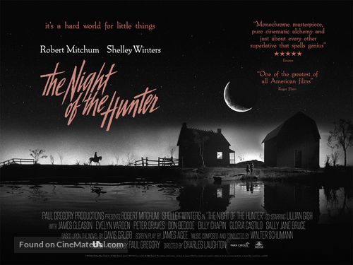 The Night of the Hunter - British Re-release movie poster