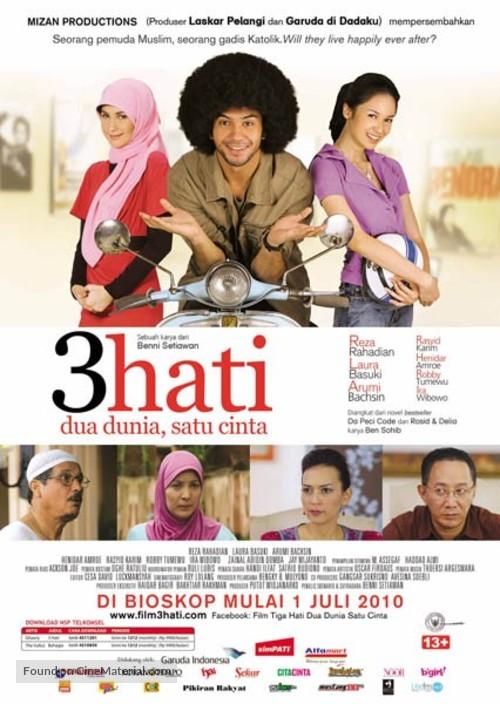 3 hati dua dunia, satu cinta - Indonesian Movie Poster