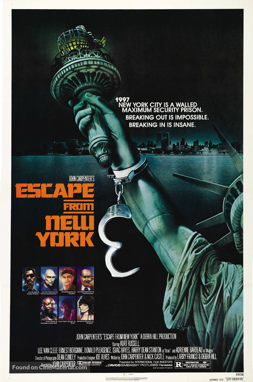 Escape From New York - Advance movie poster