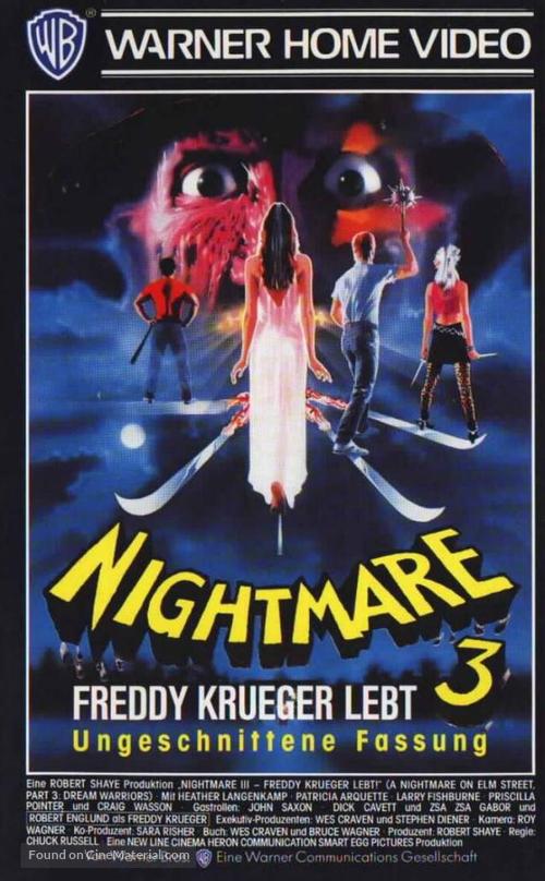 A Nightmare On Elm Street 3: Dream Warriors - German VHS movie cover
