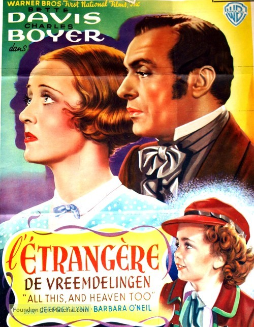 All This, and Heaven Too - Belgian Movie Poster