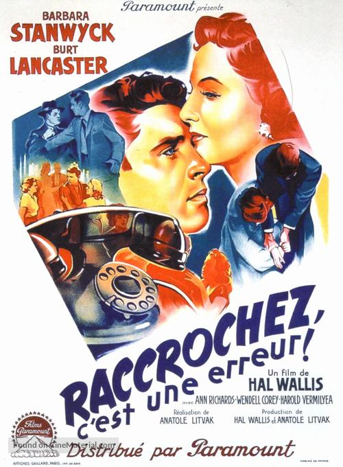Sorry, Wrong Number - French Movie Poster