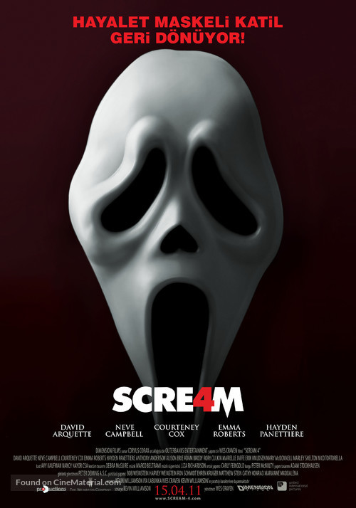 Scream 4 - Turkish Movie Poster
