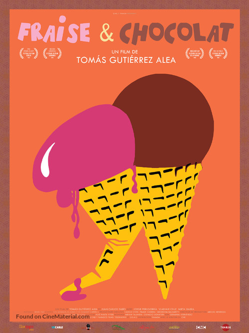 Fresa y chocolate - French Re-release movie poster