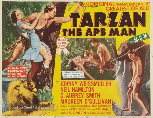 Tarzan the Ape man Vintage film advertising poster reproduction.
