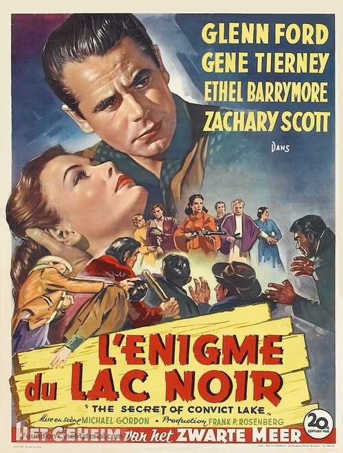 The Secret of Convict Lake - Belgian Movie Poster
