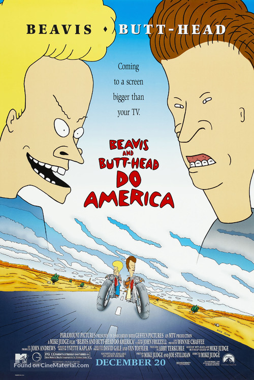 Beavis and Butt-Head Do America - Video release movie poster