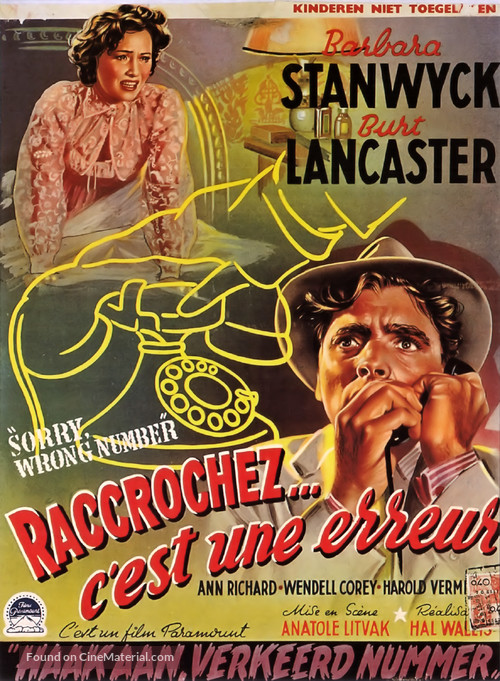 Sorry, Wrong Number - Belgian Movie Poster