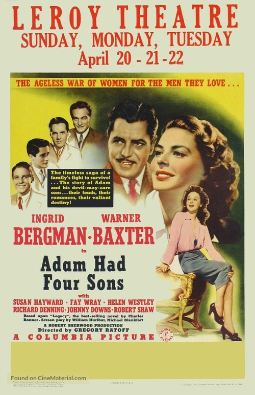 Adam Had Four Sons - Movie Poster