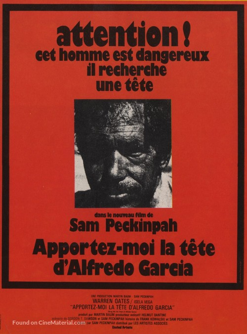 Bring Me the Head of Alfredo Garcia - French Movie Poster