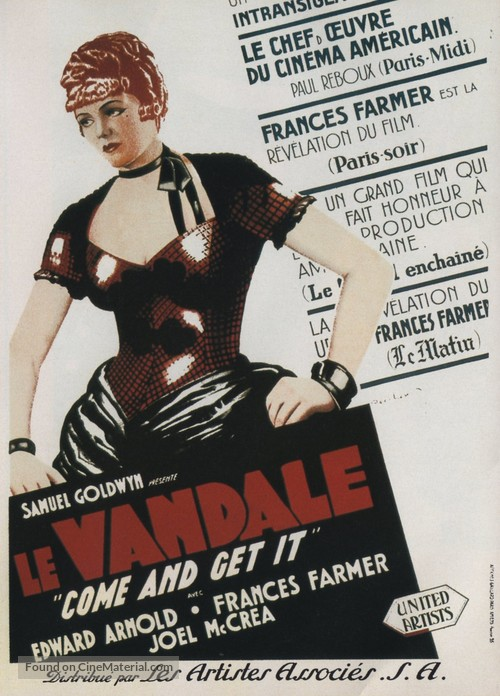 Come and Get It - French Movie Poster