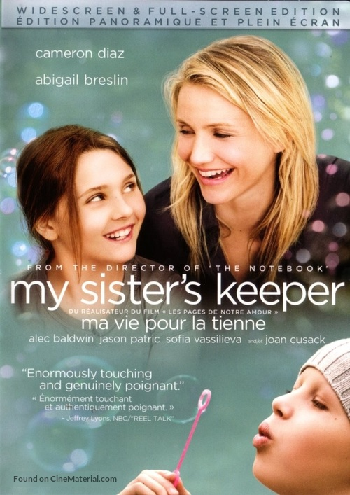 My Sister's Keeper - Canadian DVD movie cover