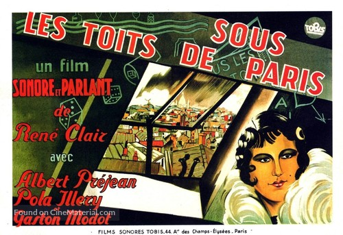 sous les toits de paris french movie poster. Black Bedroom Furniture Sets. Home Design Ideas