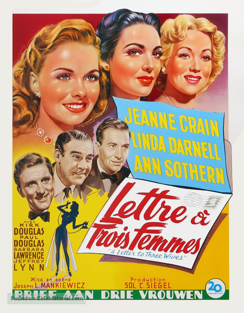 A Letter to Three Wives - Belgian Movie Poster